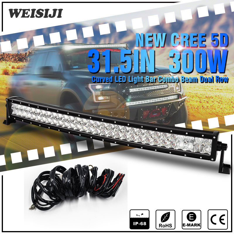 WEISIJI 300W Combo Beam 5D CREE Chips Curved LED Light Bar 31.5inch LED Working Light Bar for ATV UTV 4*4 Offroad Jeep Trucks<br><br>Aliexpress