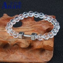 Ailatu Men and Girl Power Jewelry 8mm Crystal Glass Beads with Alloy Strength Dumbbell Bracelet