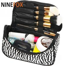 New Arrival Lady Brand Makeup Cosmetic Bag Nylon Leather Black White Toiletry Bag Zebra Travel Handbag Organizer