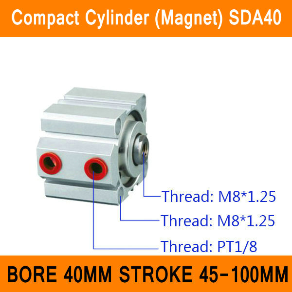 SDA40 Cylinder Compact Magnet SDA Series Bore 40mm Stroke 45-100mm Compact Air Cylinders Dual Action Air Pneumatic Cylinders ISO<br>