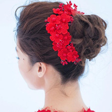 wedding romantic bohemian Red fabric flower handmade Short hairband with Peal beads bride  bridal vintage hair accessories