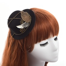 Retro Victorian Steampunk Mini Top Hat Hairclip Gothic Gears Wing Chain Head Wear