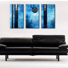 Hand Painted 3 Panel Abstract Geometric Oil Painting Handmade Blue Canvas Acrylic Paintings Modern Home Decor Wall Art Pictures