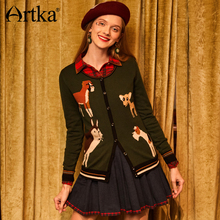 Artka New Spring Winter Girls Casual Cute Jacquard Childlike Animal Pattern O-neck Knitted Cardigans WB10478Q(China)
