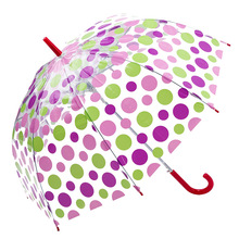 New Woman Umbrella Creative Parasol Cute Fresh PVC Transparent Mushroom Polka Dot Arch Umbrella Child Long/Rain Umbrella
