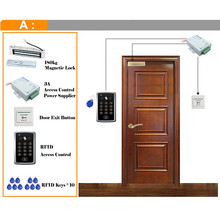 RFID Access Control System Kit Wooden Glasses Door Set+Eletric Magnetic Lock+ID Card Keytab+Power Supplier+Exit Button