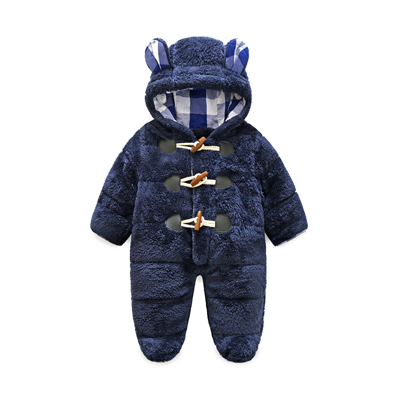 Winter Newborn Baby Boy Rompers Thermal Cotton Warm Thickening Jumpsuits Coral Fleece Hooded Girls Outwear Infant Clothes <br>