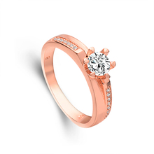 Atreus New Sale 1pc Rose Gold Color Fine CZ Unusual Ring For Women Wedding Jewelry Size 7-9