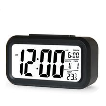 Smart clock digital clock mute light sensing LED large screen electronic snooze alarm temperature square plastic luminous modern