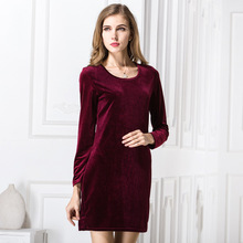 Buy Autumn Bodycon Dress Draped Dark Velvet Womens Sexy Dresses Party Night Club Dress Long Sleeve Dress YF201715 for $10.39 in AliExpress store