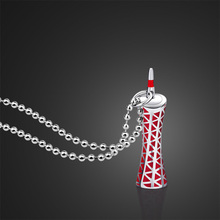 Neutral 925 Sterling Silver Necklace Guangzhou Tower Pendant Design Monument Solid Silver Necklace Round Bead Chain best gift(China)