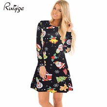 Ruiyige 2017 Autumn Women Christmas Dresses Casual Snowman Snowflake Long Sleeves Elastic Tunic Santa Mini Robe Vestido De Festa(China)