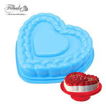 FILBAKE Large Love Heart Shape 3D Silicone Mold Bakeware Baking Cake Pan Tray Chocolate Muffin Dessert Mold Non-stick(China)