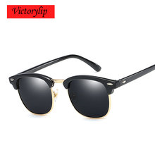 Classic Sunglasses Women Retro Brand Designer UV400 Mirror Half Rim Sun Glasses Men UV400 Rayed Female Shades Vintage Rivet Hot(China)