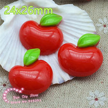resin red apple cartoon Flat back for decoration,hair bow center 50pcs/lot 24x26mm(China)