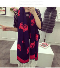 Luxury brand ladies scarves warm winter cashmere long shawl Bear head cute printed double - sided wild shawl large square lace