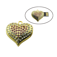 2016 Usb Flash Drive Heart Jewelry Crystal Diamond Pendrive 4GB 8GB Pen Drive 16GB 32GB 64GB Memory USB stick 2.0(China)
