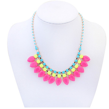 Min.order $10(Mix Item) SPX4349 New Promotion Fashion Gem Stone Big Chunky Water Drop Necklace Body Jewelry(China)
