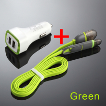 2.1A Dual USB Car Charger Universal Fast Charger For iPhone for Samsung for Mobile Phone With 2in1 USB Cable 100cm