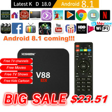 T ТВ коробка V88 4 К Android 8,1 Android ТВ BOX Rockchip RK3229 1 г DDR3 8 г eMMC USB Wi-Fi 4 ядра Smart ТВ Box Media Player(China)