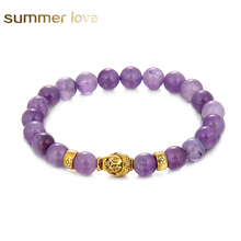 8 mm Round Beads Bracelet Gold Buddha Natural Amethysts Purple Quartz Stone Bracelet for Women Stretch Energy Bracelet 2017 New(China)