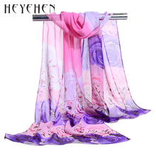 Summer Beach Sarongs Chiffon Rose Flower Women Scarf Female Silk Foulard Bandana Soft Shawl Tippet Muffler HY35(China)