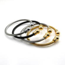 High Quality Stainless Steel Love Men Screw Nut Bangles Cable Twisted Wire Adjustable Chain Cuff Bracelet Accessories For Women