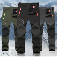 Quality Men Autumn Thick Winter Outdoor Sports Hiking Trousers Waterproof Windproof Soft shell Ski Fleece Long pants #95805