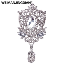 Luxury Large Size Clear Crystal Teardrop Marriage Brooch Pins in Silver Color Plated for Women or Wedding Accessories(China)