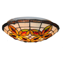 New Classic Creative Leaf Stained Glass Ceiling Lamp 12/16 Inch European Style Retro Corridor Balcony Aisle Light Lighting CL292(China)