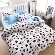 Wongs Brand Milk Cow Bedding Set Cartoon Duvet Cover Pillowcases Bed Sheet Single Full Queen King Size 3/4PCS Bedclothes New