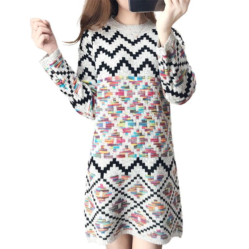 Women Sweater Dress Winter Warm Pullover Causal Slim Patchwork O-neck Empire Full Sleeve Knitted Dresses 0828-79Îäåæäà è àêñåññóàðû<br><br>