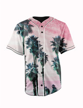 Real American Size  palm tree dreams 3D Sublimation Print Custom made Button up baseball jersey plus size