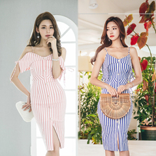Buy New Fashion Woman Summer Sexy Dress Slim Striped V-neck Sleeveless Spaghetti Strap Elegant Casual Party Dresses for $27.56 in AliExpress store