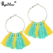 RAVIMOUR Brincos Big Tassel Hoop for Earrings Women Bohemian Punk Round Silver Color Fashion Jewelry Boho Maxi Long Earing 2017(China)