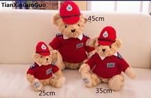 lovely teddy bear dresseed red cloth plush toy police bear soft doll throw pillow christmas gift b2889(China)