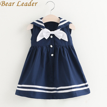 Bear Leader Girls Dress 2017 New Summer Preppy Style Dress Bow Sleeveless Turn-down Collar Striped Design for Baby Girls Dress