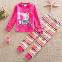 kidsr girl pajamas set cotton cartoon full sleeve shirt and rainbow pant two pieces Leisure wear home Furnishing weekend peppa(China)