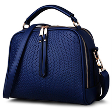 VSEN 2X Women Bags Weave Tassel Women PU Leather Handbags Women Shoulder Bag Ladies Casual Women Messenger Bags(Blue)