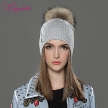 LILIYABAIHE Women Autumn And Winter Hat angora Knitted Beanies Cap Real Raccoon Fur Pom Pom Hats Pretty butterfly decoration