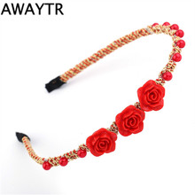 AWAYTR Women Girls Headband With Rose Flowers Handmade Resin Silk Crystal Beads Hair Bands 1 Pcs Hair Jewelry Accessories
