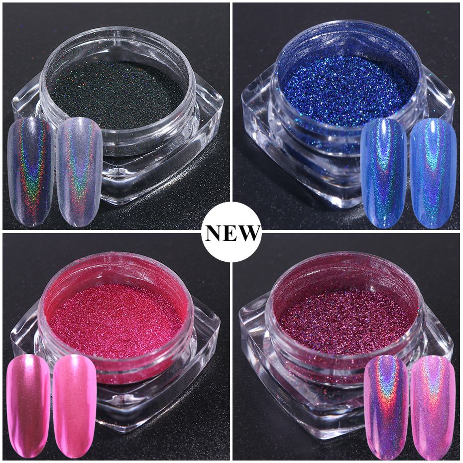 1pc Holographic Mirror Powder Rose Gold Metallic Laser Chrome Nail Powder Glitter Flakes DIP Pigment Nails Accessoires Dust  (3)