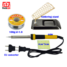 60W 220V EU/US Electric Soldering Iron Soldering station Constant Temperature with solder wire sponge(China)