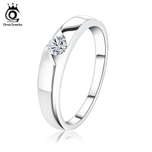 ORSA JEWELS Trendy Silver Color Promise Ring with AAA Cubic Zirconia Fine Lead & Nickel Free Engagement Rings for Women OR09