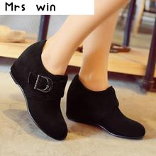New sweet Shoes Woman Ankle Boots Nucbuck Leather Casual buckle spring Autumn Boots Female Cowboy Booties