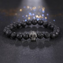 Hot 4color Zircon Skull Bracelets For Men New Fashion Volcanic Rocks Beaded Bracelets mens woman Skeleton Head CZ Yoga Bracelet