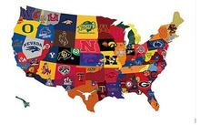 3x5ft Map of the country broken down by college football fandom flag 100D Polyester banner with 2 metal Grommets  free shipping