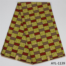 Eco-friendly  wax fabric  good quality 100% cotton ankara material african wax printed fabric 6 yards for party dress AYL