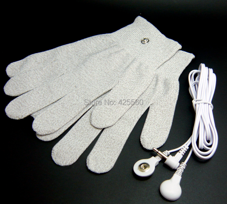 1 Pair Conductive Fiber Electrode Massage TENS Gloves With DC 3.5 Electrode Lead Wire Use For TENS/EMS Unit<br><br>Aliexpress