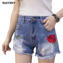 iEASYSEXY 2017 New Floral Embroidery Jeans Shorts Street Summer Cut Out Mini Short Sexy Denim Women's Shorts mujer Plus Size